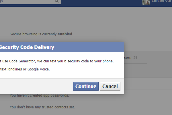 how to stop facebook security code