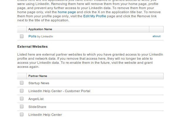 Here is the list of applications having access to your LinkedIn data.